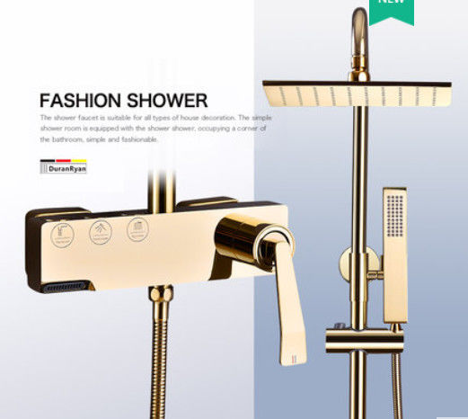 Copper Black Champagne Wall Mounted Shower Faucet Set With Handle